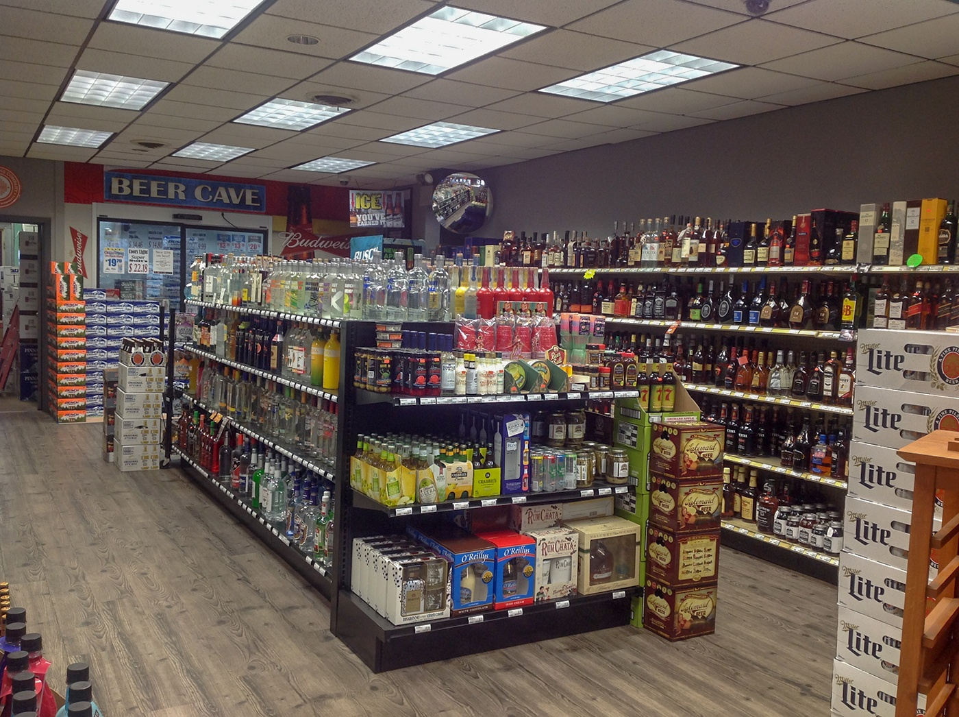 aisles of alcohol in northern liquor store