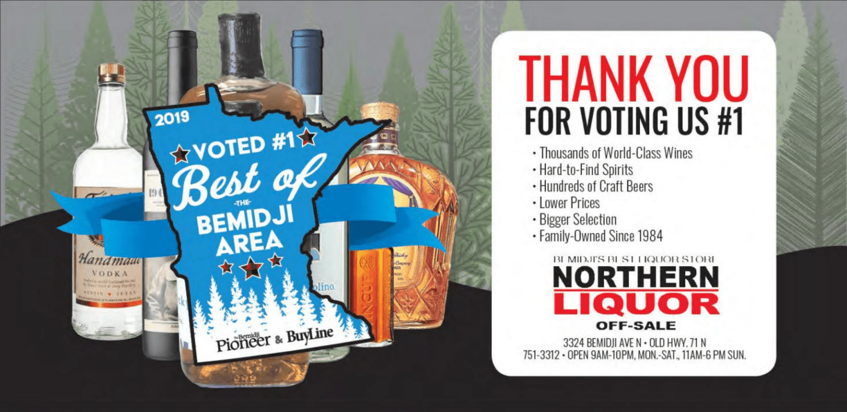 Award for northern liquor for 2019 best of the bemidji area